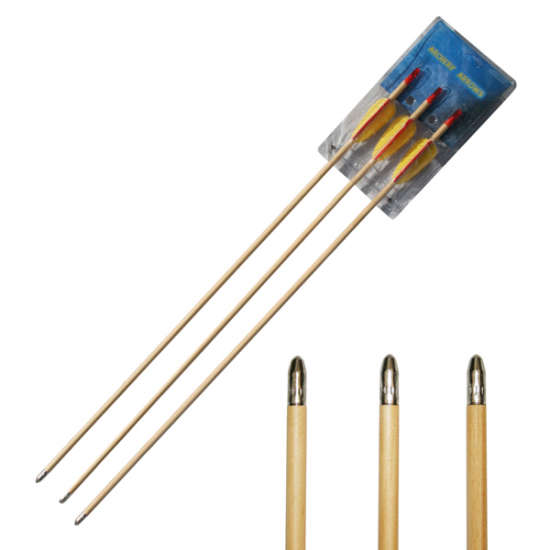 "3x 26"" Wooden Bow Arrows"