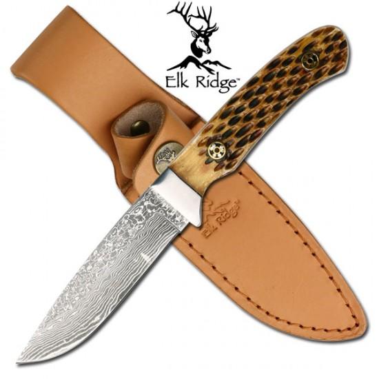 Damascus Blade Bone Handle Knife