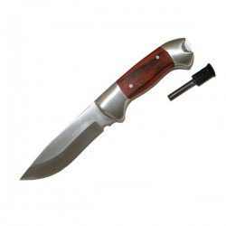 Pakkawood Sheath Knife with Fire Starter