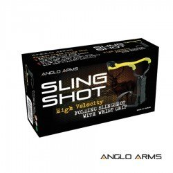 Hand Held Slingshot with Folding Wrist Support